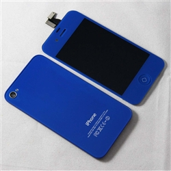 iPhone 4 Full LCD Digitizer Back Housing Dark Blue Conversion Kit GSM