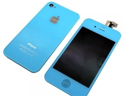 iPhone 4 Full LCD Digitizer Back Housing Blue Conversion Kit GSM