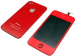 iPhone 4 Full LCD Digitizer Back Housing Red Conversion Kit GSM