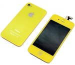 iPhone 4 Full LCD Digitizer Back Housing Yellow Conversion Kit GSM